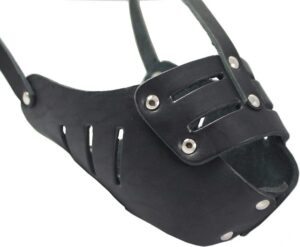 Real Leather Cage Basket Secure Dog Muzzles