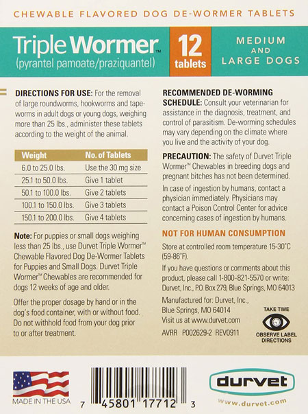 Tripler-Dog-DeWormer-ingrideants