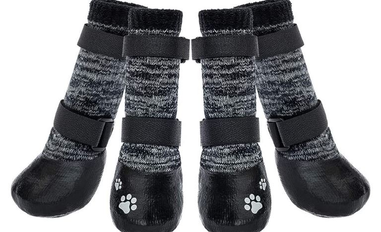 KOOLTAIL Dog Socks Anti-Slip Dog Boots with Straps Traction Control, Paw Protection Sets for Indoor Hardwood Floors & Outdoor, Fits Large Dogs