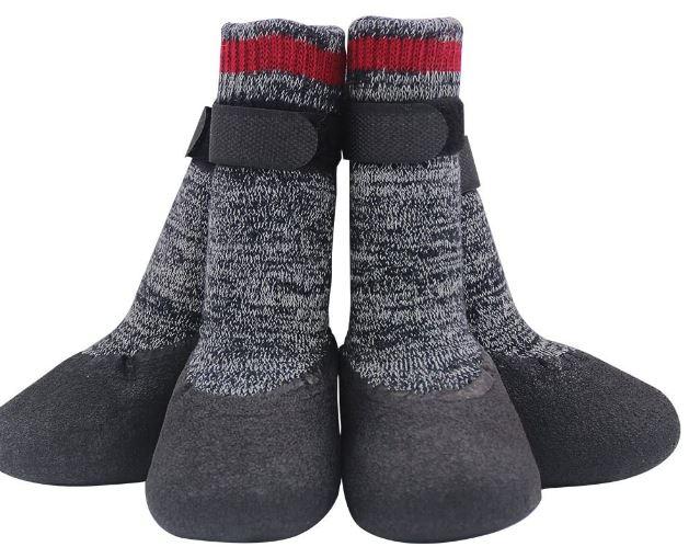 Mihachi Dog Socks Winter Paw Protectors Silicone Sole Anti-Slip Waterproof Boots,L
