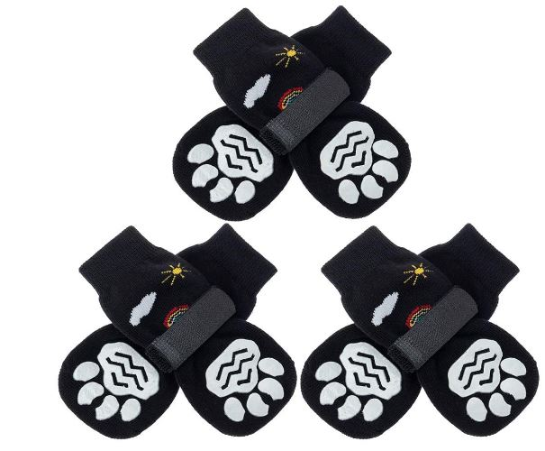 PUPTECK Double Sides Anti-Slip Dog Socks, 3 Pairs Cute Soft Paw Protector with Adjustable Straps, Strong Traction Control for Winter Indoor Outdoor Hardwood Floors